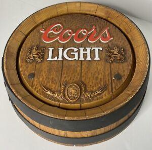 VINTAGE 1981 COORS LIGHT 3D Heavy Plastic Beer Barrel Hanging Bar Sign 15 Inches