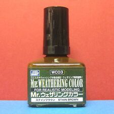 Mr. Hobby #WC03 Mr. Weathering Color for Realistic Modeling [Stain Brown] 40ml