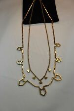 Necklace with Geometric Shaped Accents J Crew Double Strand Chain