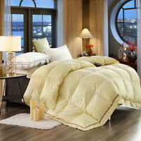 Luxury Yellow Goose Down Feather Winter 4 Seasons Duvet Quilt Comforter-4 Sizes