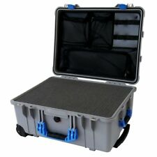 "Pelican ""Colors"" series Silver Grey & Blue 1560 Case With Foam & 1569 Organizer"