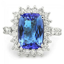 5.65 Carats NATURAL TANZANITE and DIAMOND 14K Solid White Gold Ring