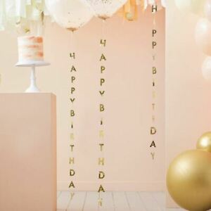 Gold Birthday Balloon Streamer Tails | Party Backdrop Decorations x5