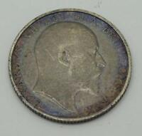 ***Edward VII 1902 One Shilling Silver Coin (toned)**