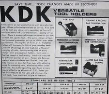 KDK lathe tool holder chart printed on heavy card stock