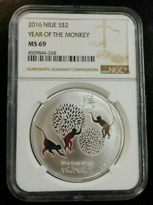 2016 NIUE ~ YEAR OF THE MONKEY ~ NGC MS69 ~ FREE SHIPPING (GS)