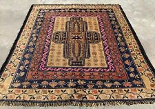 New listing Authentic Hand Knotted Afghan Balouch Wool Area Rug 3 x 3 Ft (501 Hm)