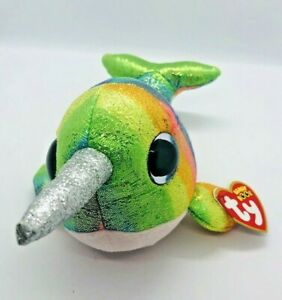 """TY Beanie Boos NORI Narwhal Whale 6"""" Plush Stuffed Animal Toy MWMT Ty Heart Tags"""
