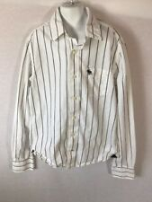 Youth/Boys Abercrombie White Striped Button Down Muscle Fit Shirt Sz XL