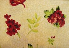 2 Yards of Cream with Red Flowers Cotton Quilting Fabric