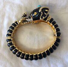 Wow!!! KJL KENNETH JAY LANE Black Enamel Rhinestone Elephant Clamper Bracelet