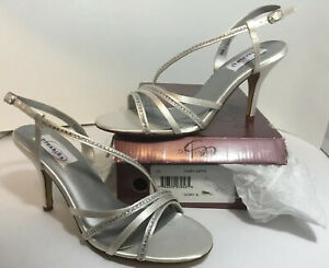 NEW DYEABLES High Heels 9.5 Womens Shoes Size 9 1/2 Ivory Satin Rhinestone Strap