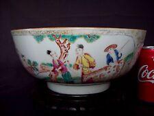 SUPERBE 26 cm chinois 18th C Qianlong Famille rose mandarin porcelaine bol à punch