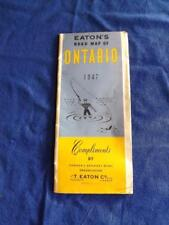 EATONS ROAD MAP OF ONTARIO 1947 COMPLIMENTS CANADA GREATEST RETAIL STORE