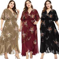 Women Short Sleeve Maxi Wrap Dress Chiffon Floral Ruffles Party Party Plus Size