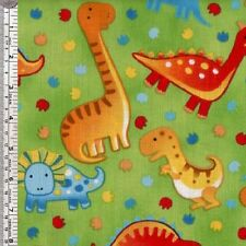 Dinosaurs on green childrens quilting fabric - per 1/2 METRE