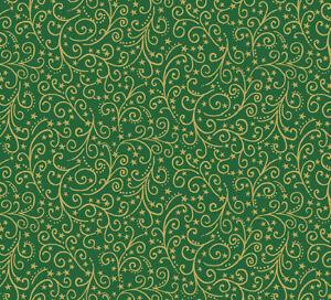 Makower Metallic Christmas Green / Gold Swirl 2097 G~ per long 1/4. 100% cotton