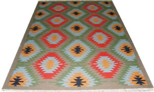 Living Room Diamond Wool Carpet Rugs 5x8 ft Multi Color Dhurrie Hand Woven Kilim