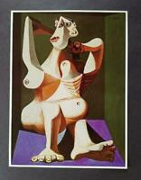 "Pablo Picasso ""Nude Dressing Her Hair""  Mounted Offset Color Lithograph 1972"