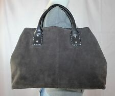 ANN TAYLOR Grey Suede Medium Shoulder Hobo Tote Satchel Slouch Purse Bag