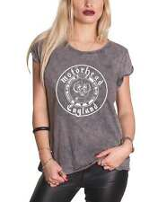 Motorhead T Shirt England Seal Official Womens New Grey Acid Wash Skinny Fit