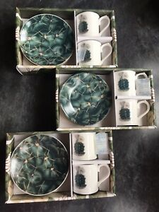 Cactus Design Espresso Cups And Saucers Set Of 6 BN
