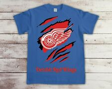 Detroit Red Wings 2 NHL Ice Hockey Team T Shirt Gildan 100% Cotton