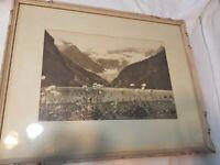 Vintage Photograph Lake Louise Canadian Rockies Mountains Banff 13x9
