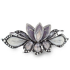 BA27 Clear Crystal Rhinestone Purple Painted Vintage Alloy Barrette Hair Clip