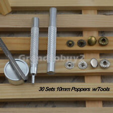 10mm 30 Sets Metal Snaps Fasteners Poppers Press Studs Kit Sewing Buttons w/Tool