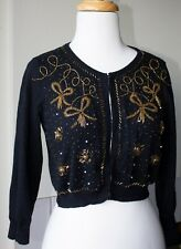 Forever 21 Beaded Cropped Cardigan Sweater black knit vintage retro style S / P