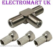 F SCREW TYPE SPLITTER 3 F TYPE PLUGS SKY SATELLITE TV FREEVIEW VIRGIN CABLE