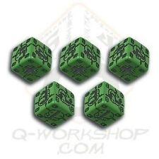 Q-WORKSHOP Dice - Set de 5 Mini d6 German Battle (Vert/Noir) *NEW*