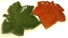 Pottery Barn Plate Platter Green Maple Leaf and Harvest Orange Candy Nut Dish