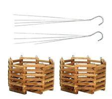 New 2 Vintage Wood Wooden Garden Planter Pot Home Decor Hanging Basket Planter