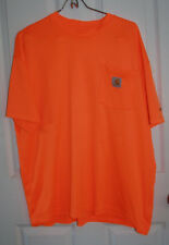 Carhartt Force Pocket Shirt Large Safety Orange 100% Polyester Relaxed Fit
