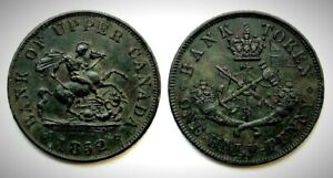 1852 Province of Canada PC-5B2 (INV0117) Half Penny AU-50!!