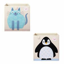 3 Sprouts Children's Fabric Storage Cube Bundle w/ Blue Cat and Arctic Penguin