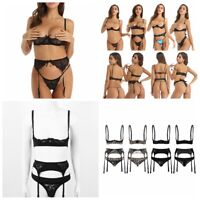 3 Piece Lingerie Set Women's Cupless Bra & Sexy Thong with Garter Belt Strap