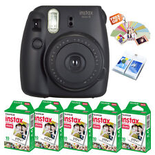 Fujifilm Instax Mini 8 Film Camera Black + Fuji Instant 50 Photo + Sticker/Album