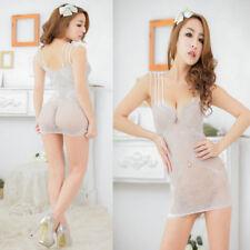 Sexy White BODYSUIT Babydoll Set Lingerie Underwear miniDress BODYSTOCKING W8818