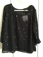 Talbots 14W 1X Blouse Polka Dot Black Sequin Evening Party Chiffon Top Plus