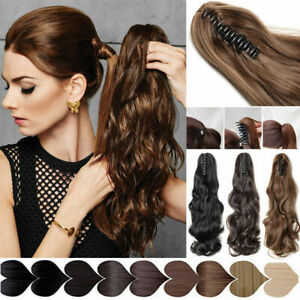 Thick Clip In Pony Tail Hair Extensions Claw Clip On Ponytail 100% Human Hair