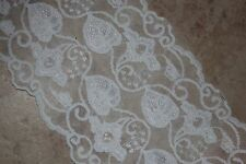 """1 yard Cream Off White sewing leaf leaves galloon stretch lace 5.75"""" wide #A6"""
