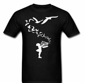 Banksy Bird cage T shirt Tee freebirds Girl