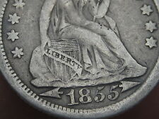 1855 Seated Liberty Dime with Arrows- VF Details, LIBERTY on Shield