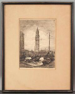 Antique Signed ANTHONY THIEME Custom House Tower Boston Wharf Etching Print
