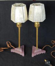 2 ART DECO LAVENDER GLASS & METAL BOUDOIR TABLE LAMPS PAIR VINTAGE SHELL SHADES
