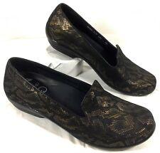 Dansko Snakeskin Python Olicia Gold Black Loafers Shoes 39 7-7.5 M