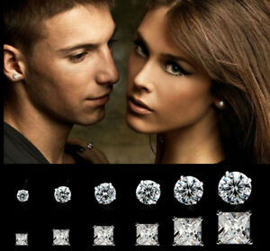 925 Sterling Silver Classic Clear Crystal Lab Diamond Cutting Stud Earrings UK